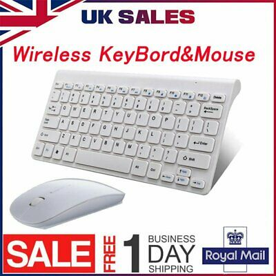 White Mini Wireless Keyboard And Mouse Set 2.4G For Mac Apple PC Computer UK • 12.89£