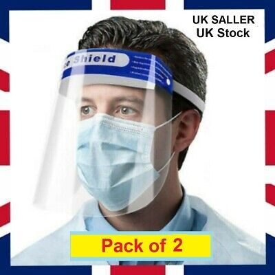 2 Pack Face Shield Visor Protection Mask Safety Clear Transparent PPE UK Stock • 5.49£