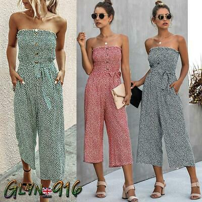 UK Womens Bandeau Button Floral Ladies Playsuit Casual Belted Wide Leg Jumpsuit♚ • 13.99£