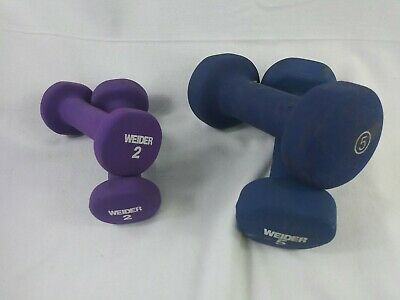 $ CDN47.44 • Buy Rubber Coated Dumbells 2 Sets 14lbs Total 5lb And 2lb Weights