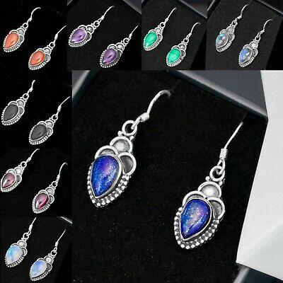 925 Sterling Silver Lapis Lazuli Ear Drop Dangle Pear Earrings Hook  Gift Boxed • 9.99£