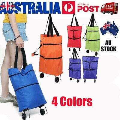 AU17.51 • Buy Foldable Shopping Trolley Bag Multi-Function Rolling Wheel Cart Tote Handbag AU