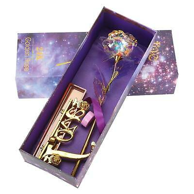 Gold Galaxy Rose Flower Valentines Day Lovers Gift Romantic Flower With Love UK • 7.75£