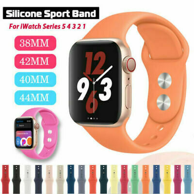 AU8.99 • Buy 38/42/40/44mm Silicone Sports Band IWatch Strap For Apple Watch Series 5 4 3 2 6