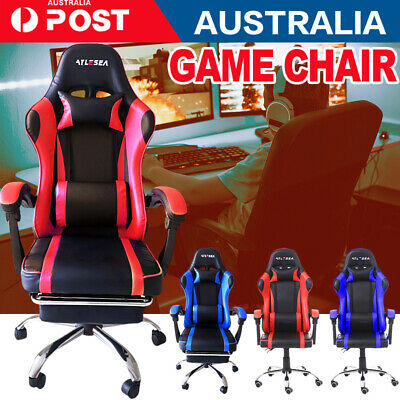 AU143.80 • Buy Computer Gaming Chair Executive Office Chairs Racer Recliner PU Seat Or Footrest