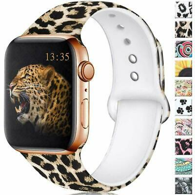 AU10.99 • Buy For Apple Watch Band Series 5 4 3 2 6 Leopard Printed Silicone IWatch Strap Band