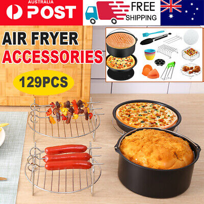 AU28.90 • Buy 129 PCS 8  Air Fryer Frying Cage Dish Baking Pan Rack Pizza Tray Pot Accessories