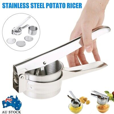 AU9.85 • Buy Silver Stainless Steel Hand Held Potato Ricer Masher Kitchen Vegetable Fruit