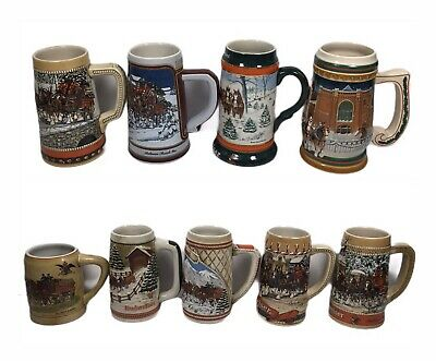 $ CDN184.53 • Buy Lot Of 9- Budweiser Holiday Steins- 1980 With Green Cases, 1984-1989, 1991, 1997
