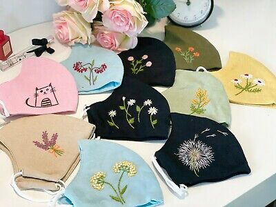 AU7 • Buy Pure Linen Quality Hand Embroidery Face Mask Mouth Masks Reusable AU STOCK