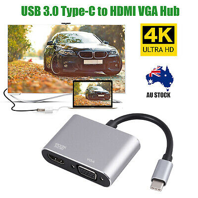 AU19.75 • Buy USB C To HDMI VGA Adapter USB 3.1 Type-c To HDMI 4K Converter For Samsung S8 Mac