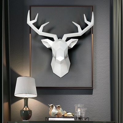 Deer Head Statue Antelope Resin Abstract Sculpture Vintage Wall Decoration Decor • 48.01£
