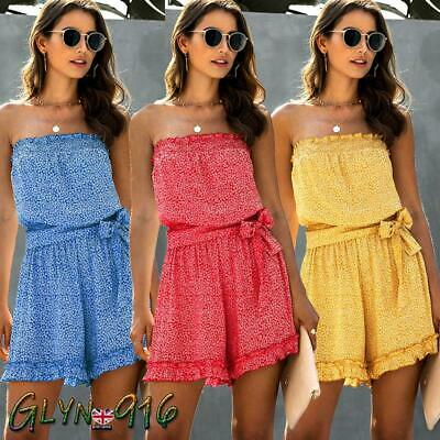 UK Womens Bandeau Floral Ladies Playsuit Casual Belted Wide Leg Shorts Jumpsuit • 10.99£