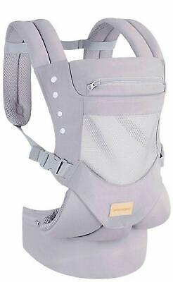 Grey -TIANCAIYIDING Ergonomic Baby Carrier With Hip Seat Soft Breathable Cotton  • 9.99£