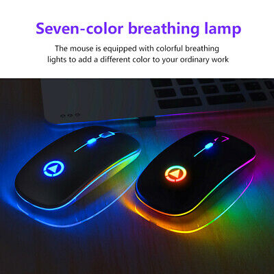 AU14.12 • Buy 2.4GHz Wireless Mute Optical Mouse RGB Backlit USB Rechargeable For PC Laptop