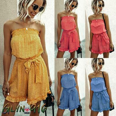 ♚UK Ladies Playsuit Jumpsuit Floral Shorts Bandeau Elasticated Summer New Womens • 10.99£