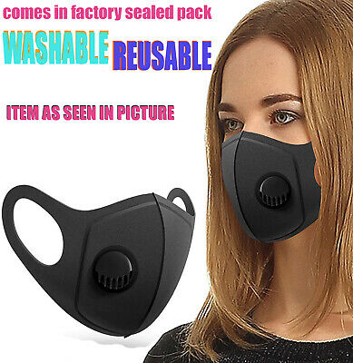 PPE Face Mask Protective Covering Mouth Masks Washable Reusable Black UK • 1.99£