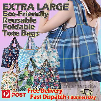 AU21.95 • Buy Eco-Friendly Reusable Foldable Tote Extra Large Shopping Bag Long Handle Grocery