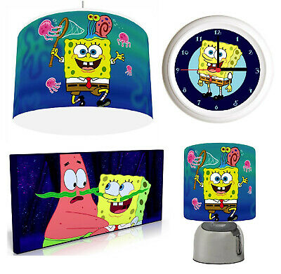 SPONGEBOB SQUAREPANTS Light Shade , Touch  Lamp, Wall Art, Wall Clock Or Bundle • 12.99£