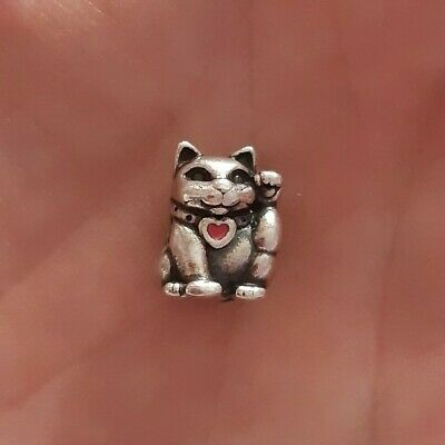 Authentic Pandora S925 ALE Sterling Silver Waving Cat Charm Bead ~ Retired • 14£