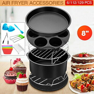 AU28.90 • Buy 7/ 8  Air Fryer Accessories Rack Cake Pizza Oven Barbecue Frying Pan Tray 129PCS