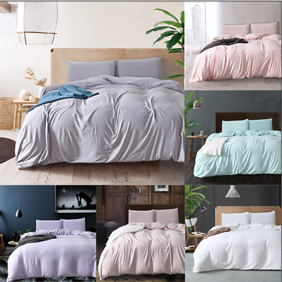 £29.51 • Buy Duvet Quilt Cover Sets Washed Cotton Bedding Set Pillowcase Twin/Queen/King Size