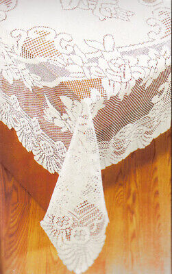 $24 • Buy White Lace Tablecloth Floral Fabric Scalloped Edges 53 X 73 Rectangle Oblong