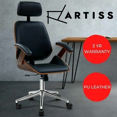AU221.90 • Buy Artiss Wooden Office Chair Computer Gaming Chairs Executive Leather Black