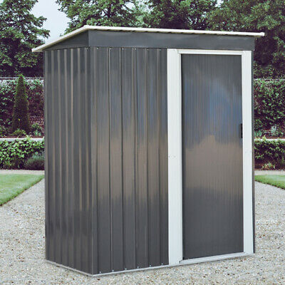 Metal Garden Shed Outdoor Tool Storage Organizer Small House - 5 X 3ft Deep Grey • 249.95£
