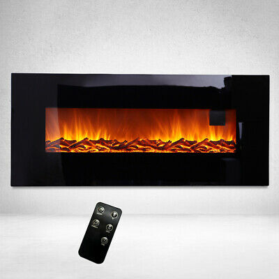 Electric Fire Inset Fireplace Heater 34/50 Inch Wall Mounted With Remote Flames • 191.94£