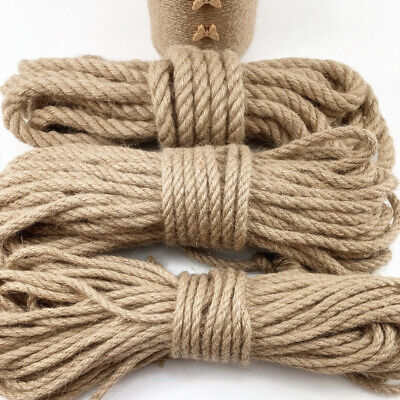 Pure Natural Jute Hessian Rope Cord 10-40mm Thick Garden Decking Twisted Roll30m • 11.95£