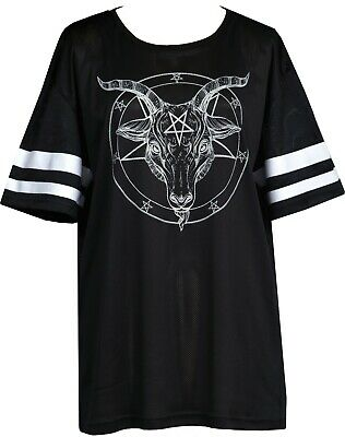 Womens Baphomet American Football T-Shirt Baggy Slouch Fit Gothic Satanic Witch • 22.49£