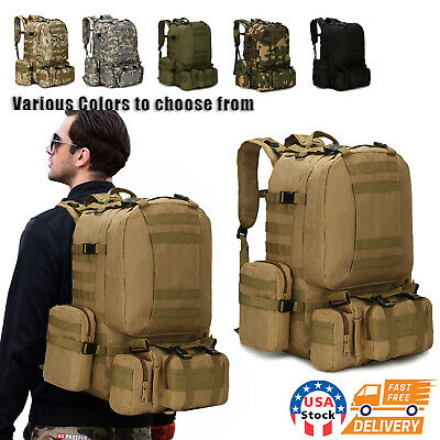 $27.98 • Buy 60L Outdoor Military Molle Tactical Backpack Rucksack Camping Bag Travel Hiking