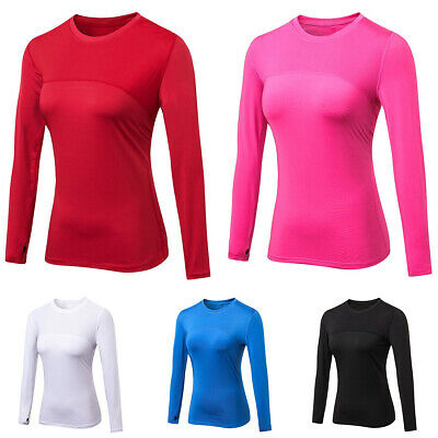 Women Long Sleeve T-Shirt Sports Gym Running Fitness Jogging Yoga Tops Tee Shirt • 10.06£