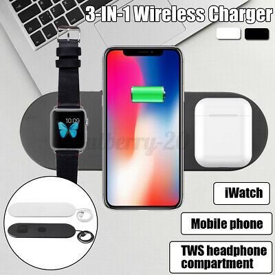 AU21.99 • Buy ❤ 3 In1 Charging Dock Qi Wireless Charger For IPhone 11 For Airpods For Samsung