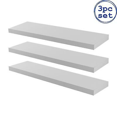 AU80.95 • Buy 3x Wooden Floating Shelves Wooden Wall Mounted Storage Living Room 80cm White