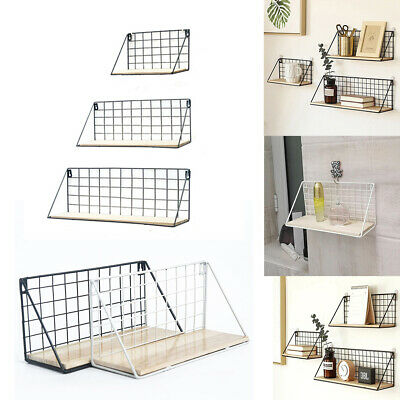 Wall Mounted Floating Shelf Industrial Metal Wire Wooden Storage Display Rack • 9.95£