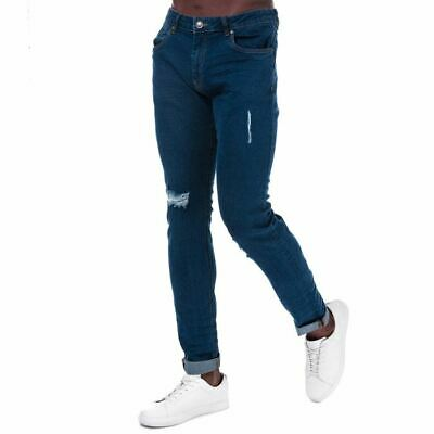 Men's Ringspun Zeus Ripped Zip Fly Elasticated Skinny Fit Jeans In Blue • 18.94£