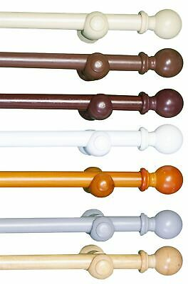 Wooden Curtain Pole Eyelet Pole For Curtains 28mm Wood Pole White Oak Grey Cream • 27.99£