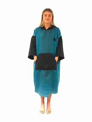 Changing Dry Robe Poncho Made Of ECO Recycled Plastic For Swimming Beach In Blue • 27.95£