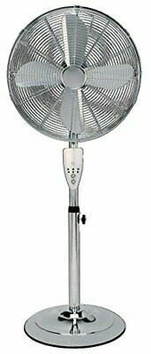 Aironic (TM) 16 Inch Chrome Pedestal Floor Fan 3 Speed With Remote Control • 77.99£