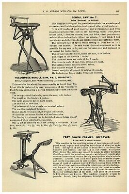 £21.93 • Buy 1895 PAPER AD Velocipede Scroll Saw Foot Power New Union Combination Saw