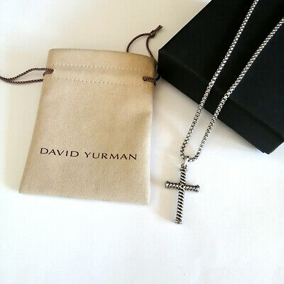 $177 • Buy David Yurman Box Chain Necklace 925 Sterling Silver Cable Cross Pendant Necklace