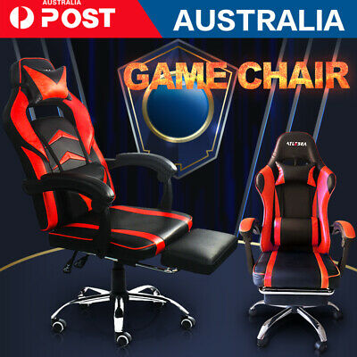 AU108.99 • Buy RED Gaming Office Chair Racing Executive Footrest Computer Seat PU Leather AU