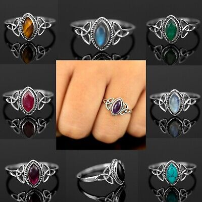 Marquise Moonstone 925 Sterling Silver Turquoise Gemstone Ladies Ring Jewellery  • 9.99£