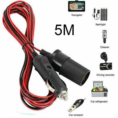 5M 12V Car Cigarette Cigar Lighter Extension Charging Cord Charger Cable Adapter • 5.45£