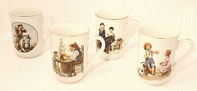 $ CDN27 • Buy Vintage Norman Rockwell Set Of 4 Museum Collection Mugs 24k Gold Rim Cups 1982