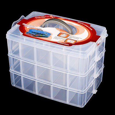 Clear Compartment Box Transparent Plastic Storage 3 Layer Divider Large Craft  • 9.99£
