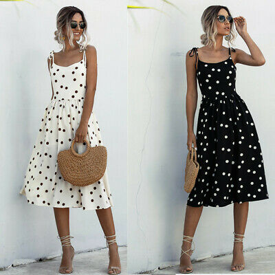 Womens Polka Dot Midi Wrap Dress Ladies Summer Holiday Backless  Party Prom Gown • 13.89£