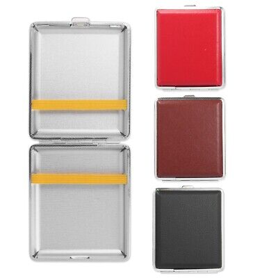 LEATHERETTE CIGARETTE CASE Red/Brown/Black King Size Tobacco Smoking Storage Tin • 3.25£